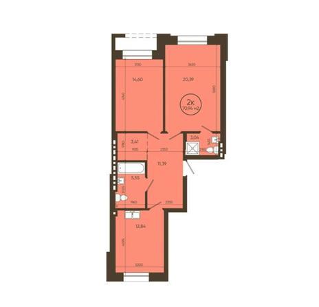 Вариант №6049, 2-комнатная квартира в жилом комплексе