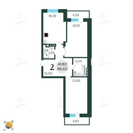 Вариант №2263, 3-комнатная квартира в жилом комплексе