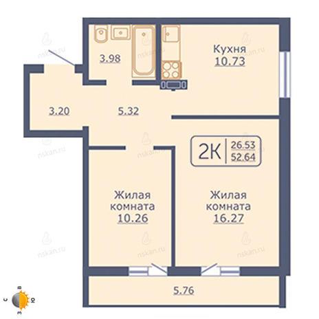 Вариант №2057, 2-комнатная квартира в жилом комплексе
