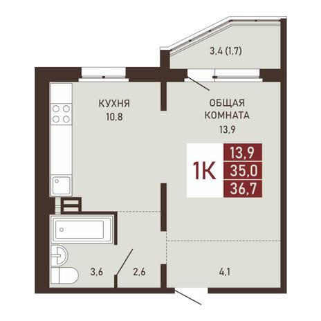 Вариант №3663, 1-комнатная квартира в жилом комплексе Северная корона