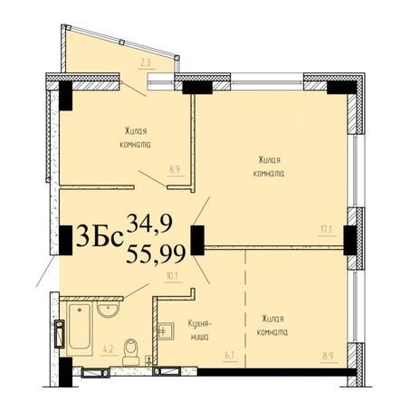 Вариант №6523, 3-комнатная квартира в жилом комплексе