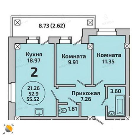 Вариант №1983, 3-комнатная квартира в жилом комплексе