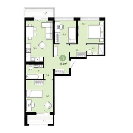 Вариант №4838, 4-комнатная квартира в жилом комплексе Европейский Берег