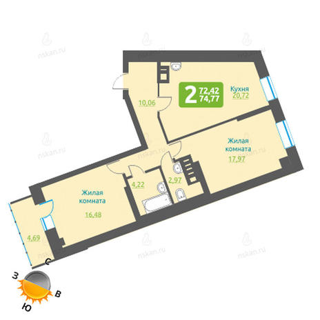 Вариант №1210, 2-комнатная квартира в жилом комплексе Марсель