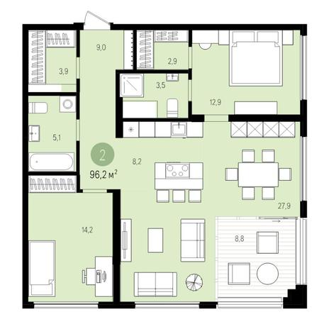 Вариант №5514, 3-комнатная квартира в жилом комплексе