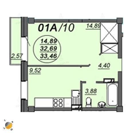 Вариант №2342, 1-комнатная квартира в жилом комплексе