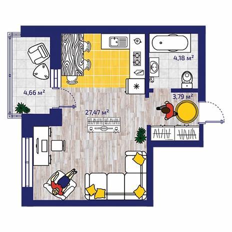 Вариант №4379, 1-комнатная квартира в жилом комплексе