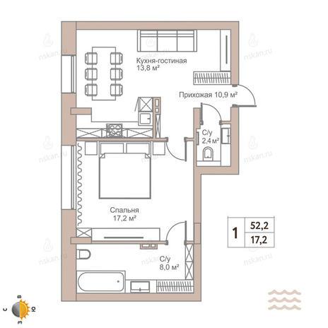 Вариант №2438, 1-комнатная квартира в жилом комплексе Flora & Fauna