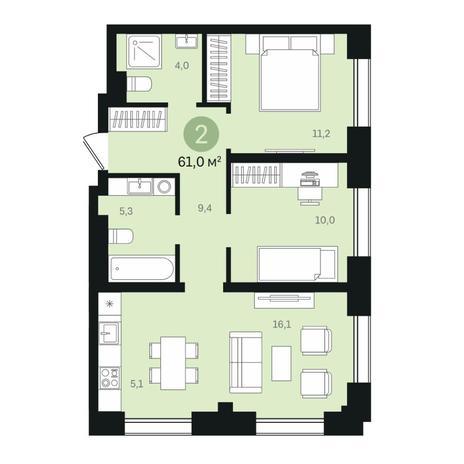 Вариант №6342, 3-комнатная квартира в жилом комплексе