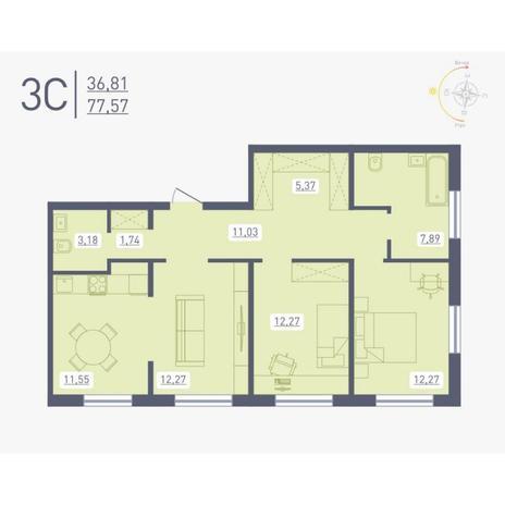 Вариант №4891, 3-комнатная квартира в жилом комплексе Радуга Сибири