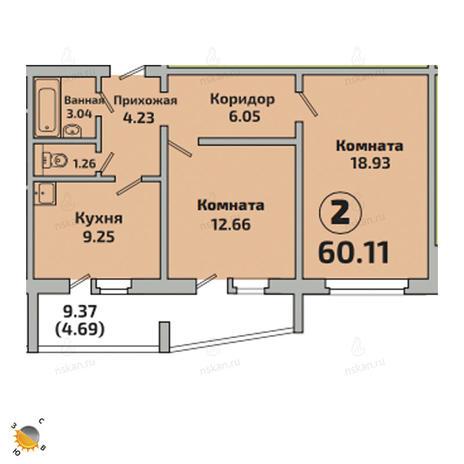 Вариант №2521, 2-комнатная квартира в жилом комплексе