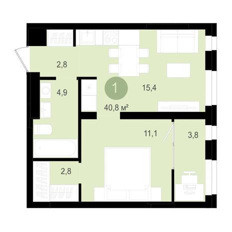Вариант №3516, 2-комнатная квартира в жилом комплексе Лебедевский