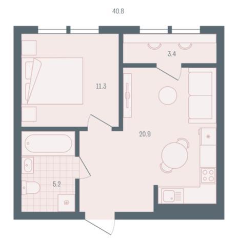 Вариант №5913, 1-комнатная квартира в жилом комплексе Ясный берег