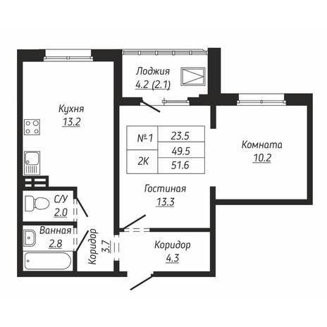 Вариант №6667, 2-комнатная квартира в жилом комплексе