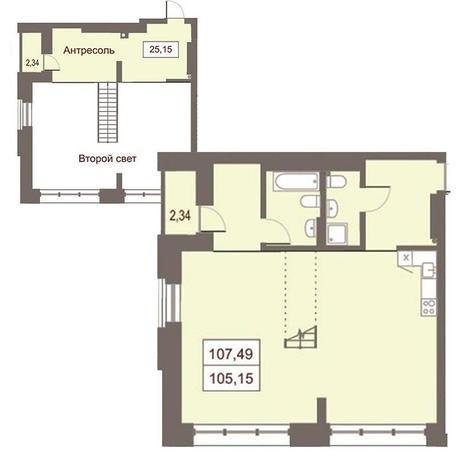 Вариант №2873, 3-комнатная квартира в жилом комплексе Жуковка