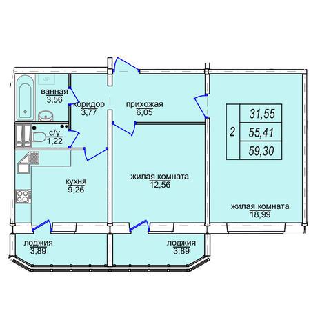 Вариант №3857, 2-комнатная квартира в жилом комплексе Софийский квартал