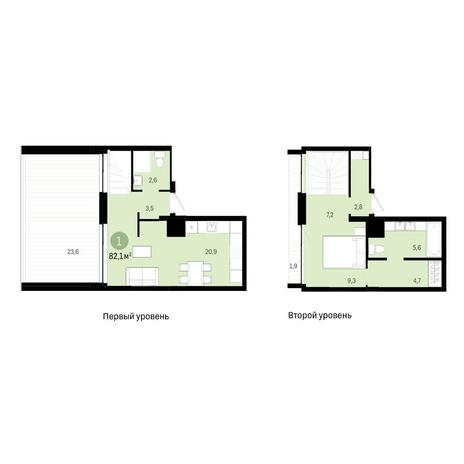 Вариант №6387, 2-комнатная квартира в жилом комплексе