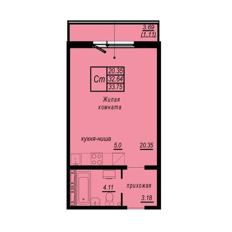 Вариант №4940, 1-комнатная квартира в жилом комплексе