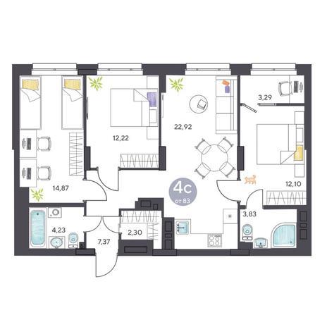 Вариант №5427, 4-комнатная квартира в жилом комплексе