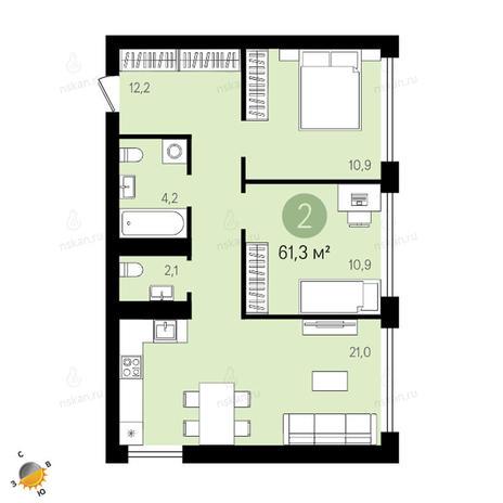 Вариант №2414, 3-комнатная квартира в жилом комплексе Европейский Берег