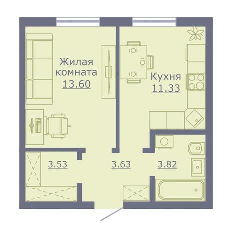 Вариант №3501, 1-комнатная квартира в жилом комплексе Радуга Сибири