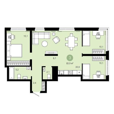 Вариант №4060, 4-комнатная квартира в жилом комплексе Бульварный переулок