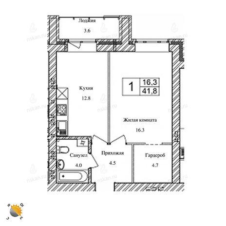 Вариант №2472, 1-комнатная квартира в жилом комплексе Солнечные часы