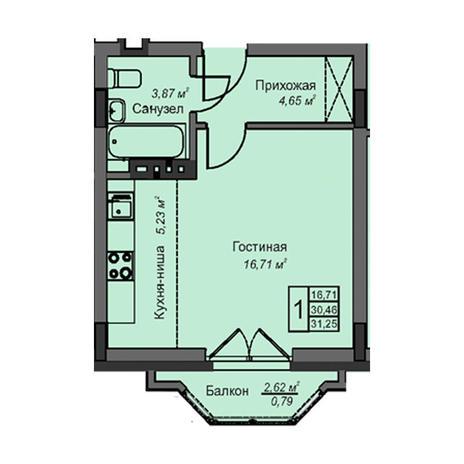Вариант №3080, 1-комнатная квартира в жилом комплексе