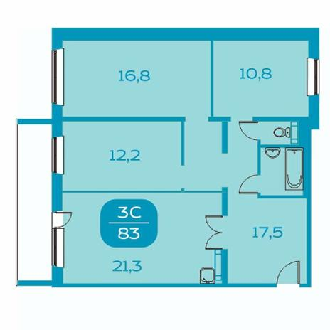 Вариант №4391, 4-комнатная квартира в жилом комплексе Аквамарин