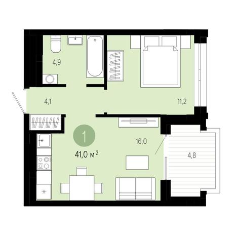 Вариант №4816, 2-комнатная квартира в жилом комплексе