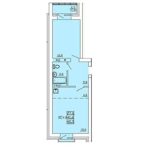 Вариант №4000, 2-комнатная квартира в жилом комплексе Свобода