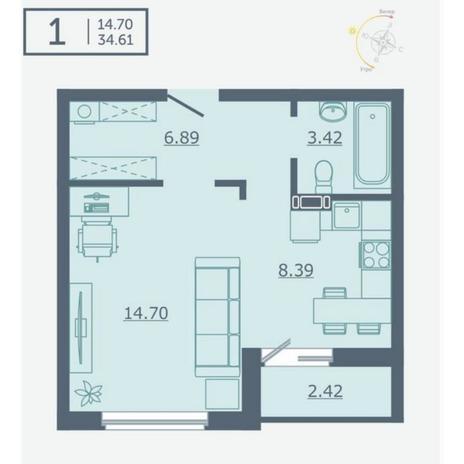 Вариант №4754, 1-комнатная квартира в жилом комплексе