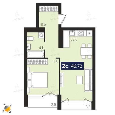 Вариант №1874, 2-комнатная квартира в жилом комплексе Европейский Берег