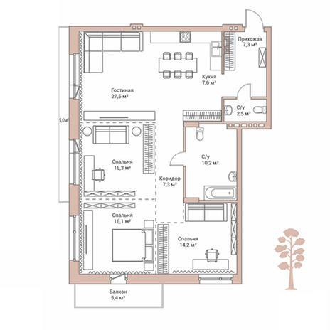 Вариант №2895, 4-комнатная квартира в жилом комплексе