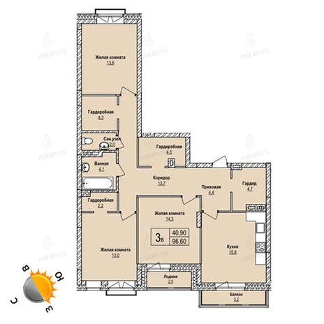 Вариант №1231, 4-комнатная квартира в жилом комплексе Оазис
