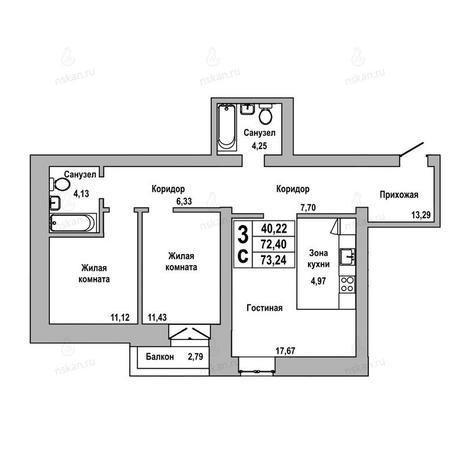 Вариант №1023, 3-комнатная квартира в жилом комплексе ГринАрт