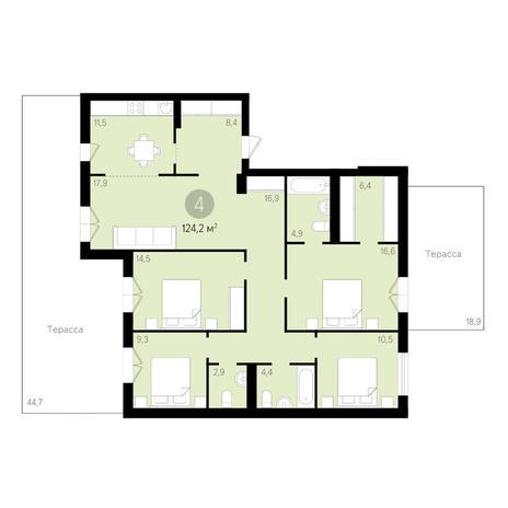 Вариант №3458, 4-комнатная квартира в жилом комплексе Дунаевский