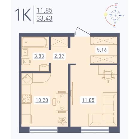 Вариант №5560, 1-комнатная квартира в жилом комплексе