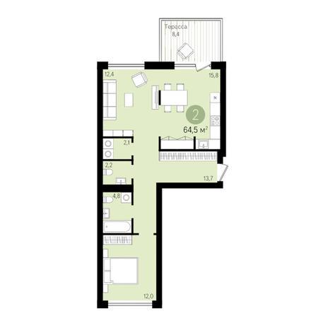 Вариант №3300, 2-комнатная квартира в жилом комплексе
