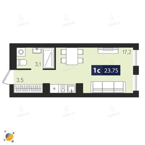 Вариант №1870, 1-комнатная квартира в жилом комплексе Европейский Берег