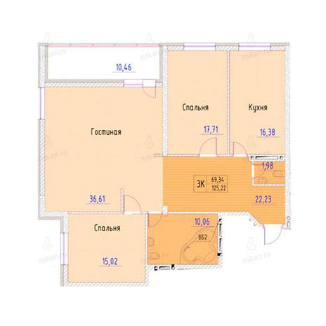 Вариант №951, 3-комнатная квартира в жилом комплексе Беркут хаус
