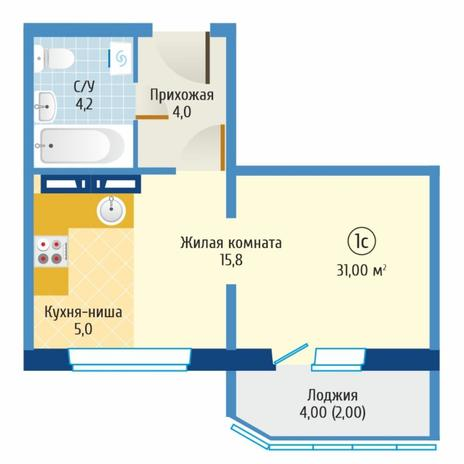 Вариант №6088, 1-комнатная квартира в жилом комплексе