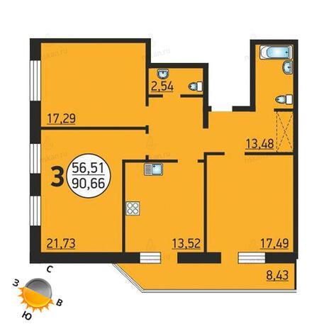 Вариант №1374, 3-комнатная квартира в жилом комплексе Семьи Шамшиных 55