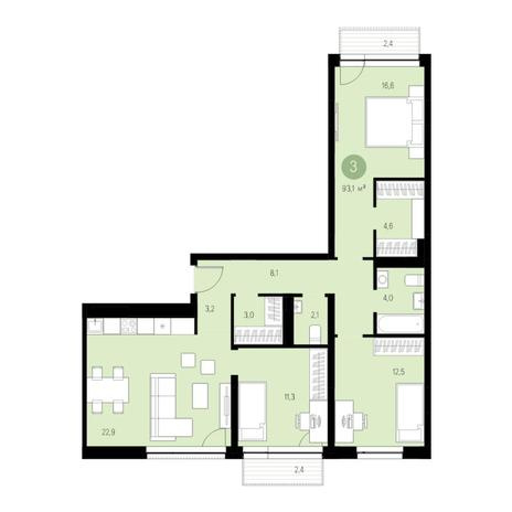 Вариант №4625, 4-комнатная квартира в жилом комплексе