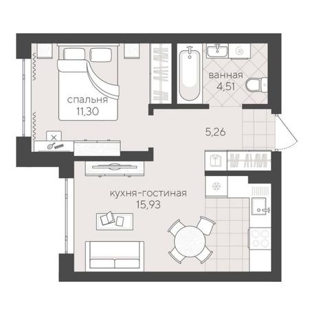 Вариант №6241, 2-комнатная квартира в жилом комплексе