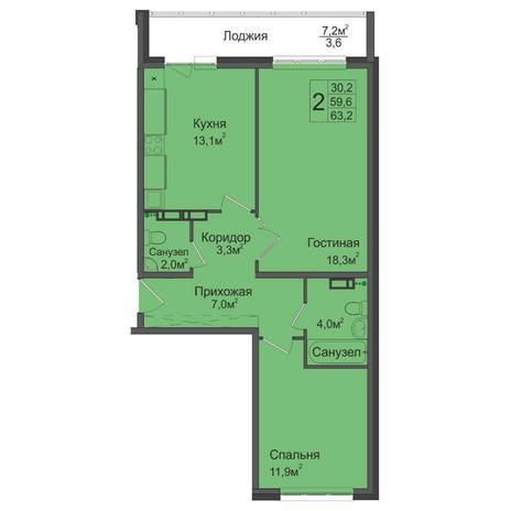 Вариант №5031, 2-комнатная квартира в жилом комплексе