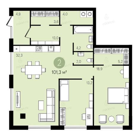 Вариант №2637, 3-комнатная квартира в жилом комплексе