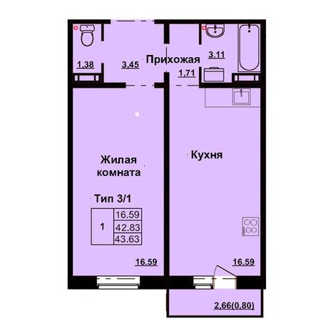 Вариант №3171, 1-комнатная квартира в жилом комплексе