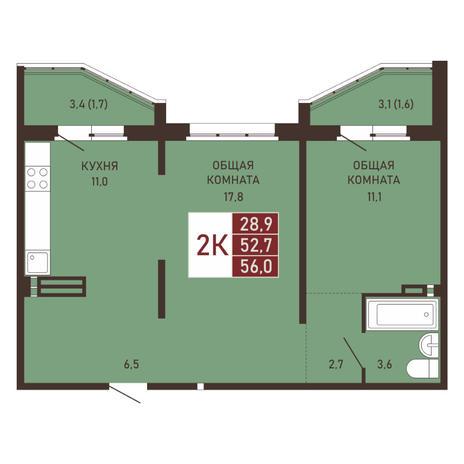 Вариант №3666, 2-комнатная квартира в жилом комплексе