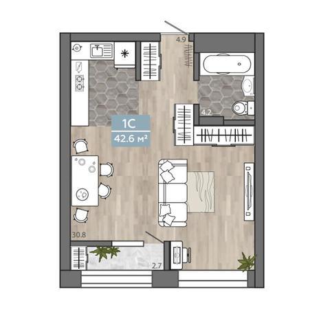 Вариант №3108, 1-комнатная квартира в жилом комплексе